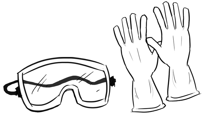 Stay safe and use protective gloves and glasses throughout the entire process of making natural soap.