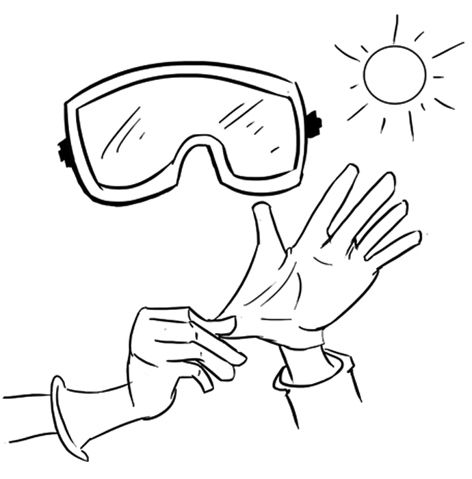Put on the protection gloves and goggles, go outside or in a well ventilated place.
