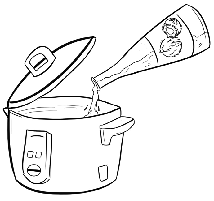 Put coconut oil in the crock pot and set to low.