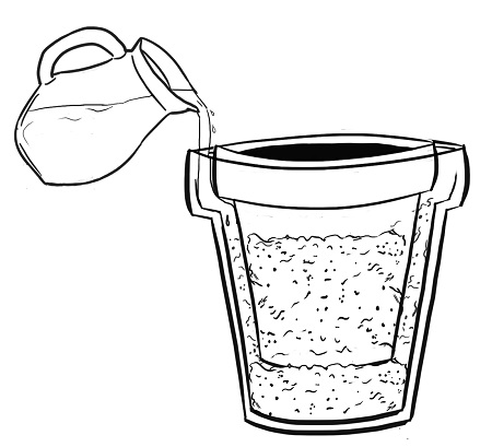 Next, you will need to pour cold water into the sand. The sand should be completely saturated. Pour slowly to make sure that you are giving the water time to soak in.