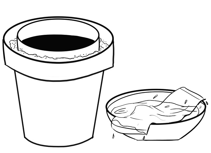 Dampen a cloth or towel with water and place it on top of the inside pot.  Be sure to completely cover the top of the inner pot.